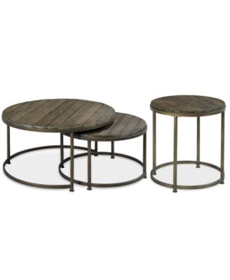 Link Wood 2 Pc Round Nesting Tables Nesting Coffee Table End Table