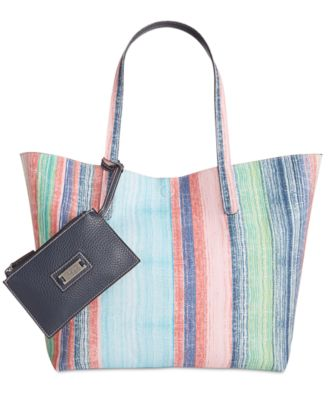 Image of Style & Co Clean Cut Canvas Reversible Tote with Wristlet, Only at Macy's