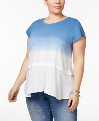 Style & Co Plus Size Cotton Dip-Dyed Peplum Top, Only at Macy's