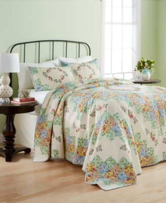 CLOSEOUT! Cotton Coneflower Diamond Quilted Full Bedspread, Created for Macy's