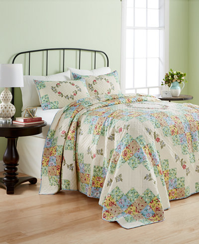 CLOSEOUT! Martha Stewart Collection Cotton Coneflower Diamond Quilted Queen Bedspread, Created for Macy's