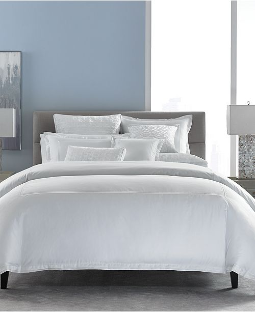 Hotel Collection Cotton Embroidered Frame Twin Duvet Cover, Created for Macy's