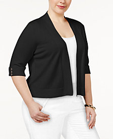JM Collection Plus Size Open-Front Cropped Cardigan, Created for Macy's