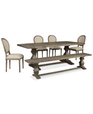 Tristan Trestle Dining Furniture, 6-Pc. Set (Trestle Dining Table, 4 Side Chairs & Bench), Created for Macy's