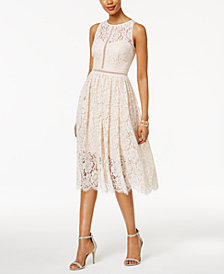 Adrianna Papell Lace Tea-Length Dress