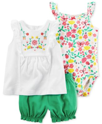 Image of Carter's 3-Pc. Cotton Top, Floral-Print Bodysuit & Bubble Shorts Set, Baby Girls (0-24 months)