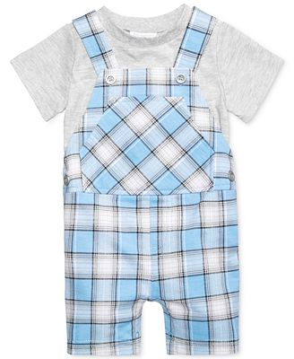 First Impressions 2-Pc. T-Shirt & Plaid Shortall Set, Baby Boys (0-24 months), Only at Macy's