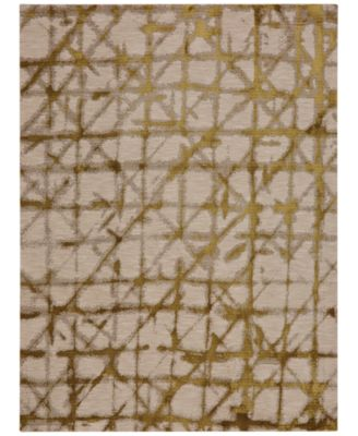 "Enigma Contact Brushed Gold 9'6"" x 12'11"" Area Rug"