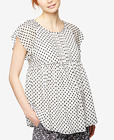 A Pea In The Pod Maternity Dot-Print Flutter-Sleeve Blouse