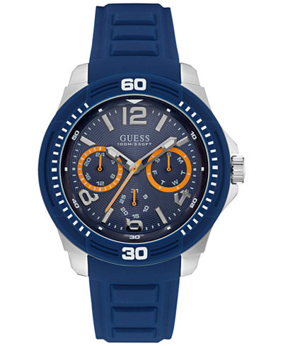 guess watches macy s guess men s multifunction blue silicone strap watch 46mm u0967g2