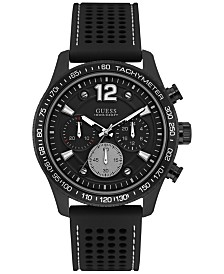 guess watches macy s guess men s black silicone strap watch 44mm u0971g1