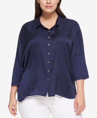 Tommy Hilfiger Plus Size Mixed-Media Shirt