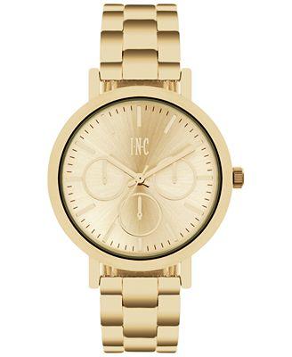 INC International ConceptsWomen's Gold-Tone Bracelet Watch 38mm IN015G, Only at Macy's