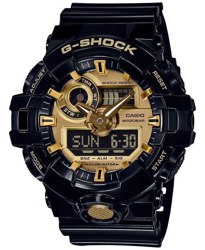G-Shock - Men's Analog-Digital Black Resin Strap Watch 54mm GA710GB-1A