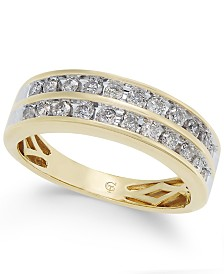 diamond two row band 12 ct tw in 14k gold - Woman Wedding Rings