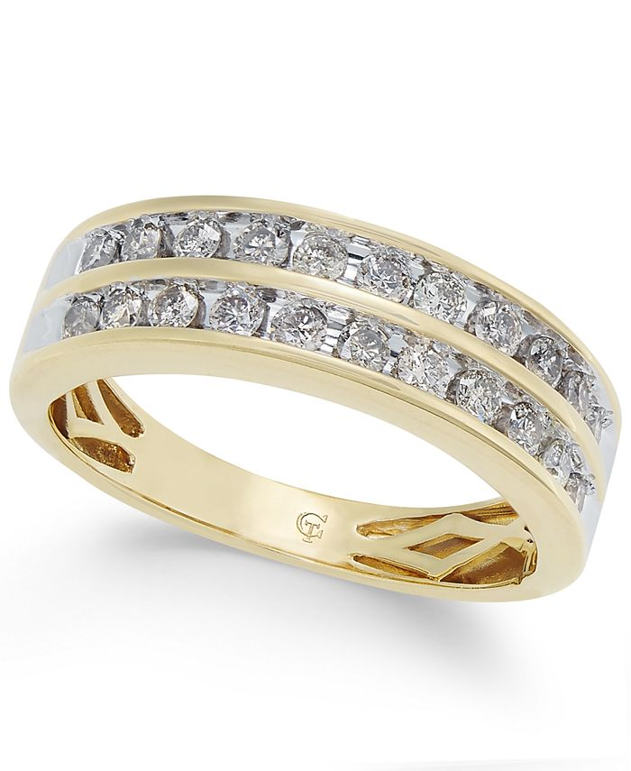Macy's - Diamond Two-Row Band (1/2 ct. t.w.) in 14k Gold
