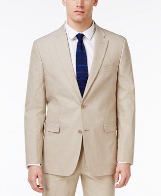 Tommy Hilfiger Men's Modern-Fit Stretch Performance Khaki Suit ...