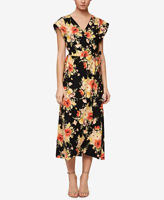 Sanctuary Floral-Print Wrap Midi Dress