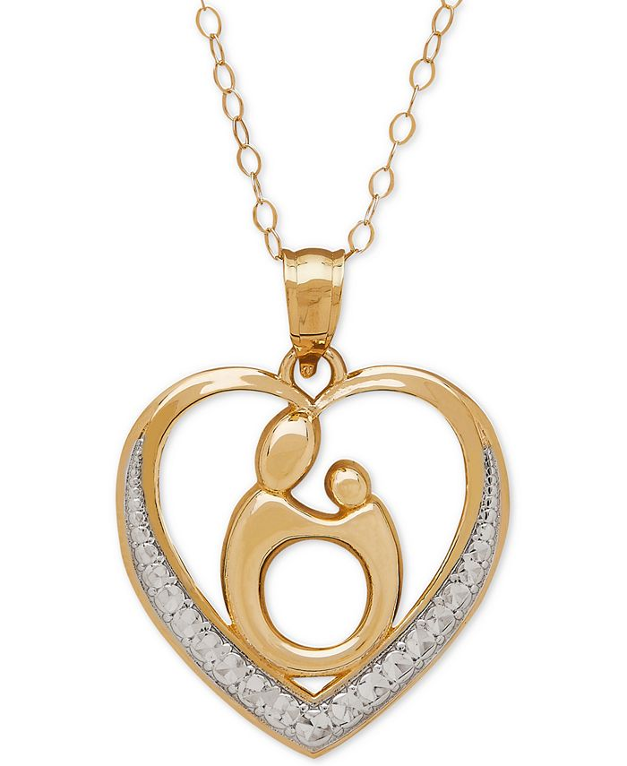 Italian Gold - Two-Tone Mother-Themed Heart Pendant Necklace in 10k Gold