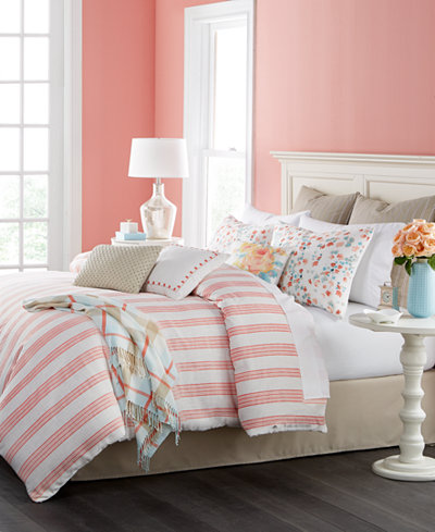 Martha Collection Watercolor Stripe 14 Pc California King Comforter Set Only At