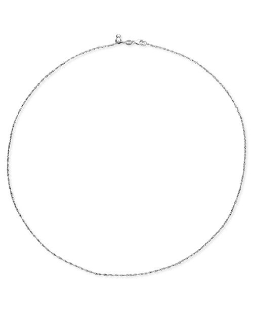 "Macy's 14k White Gold Necklace (1-1/6mm), 16-20"" Singapore Chain"