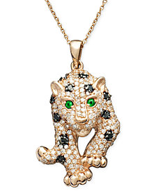EFFY Signature Black and White Diamond (3/4 ct. t.w.) and Multistone Panther Pendant Necklace in 14k Rose Gold