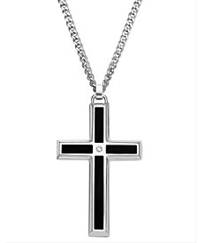 Men's Stainless Steel Pendant, Black Enamel and Diamond Accent Cross