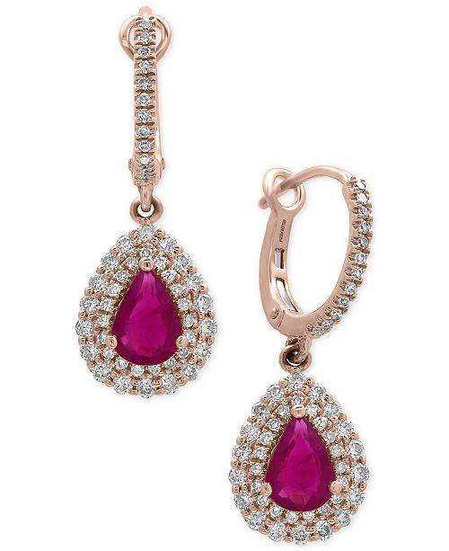EFFY Collection Amoré by EFFY®Certified Ruby (1-3/8 ct. t.w.) and Diamond (3/4 ct. t.w.) Drop Earrings in 14k Rose Gold, Created for Macy's