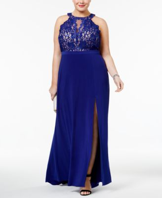 Nightway Plus Size Sequined Lace Halter Gown