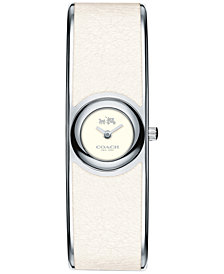 COACH Women's Scout Chalk Leather-Inset Stainless Steel Bangle Bracelet Watch 18mm 14502740