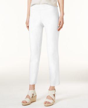 System Washable Crepe Slim-Leg Ankle Pants, Regular & Petite in White