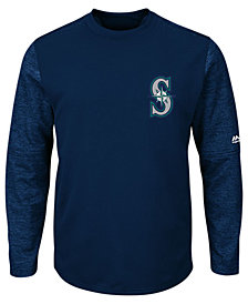 Majestic Men's Seattle Mariners AC On-Field Tech Fleece Pullover