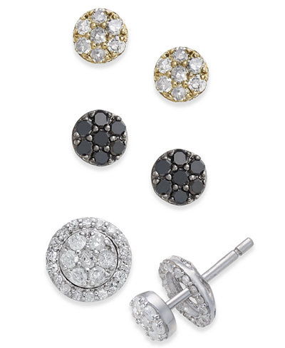 Diamond Cluster 4-Pc. Stud Earrings and Interchangeable Jacket Set (3/4 ct. t.w.) in Sterling Silver