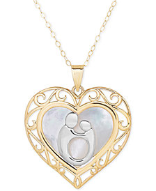 Two-Tone Mother-Themed Heart Pendant Necklace in 10k Gold and Rhodium Plate
