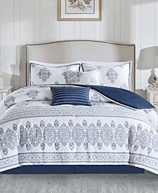Harbor House Sanibel 6PC Quilted Damask Print California King Comforter Set