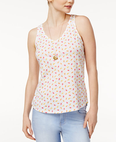 Maison Jules Cotton Popsicle Print Tank Top, Created for Macy's