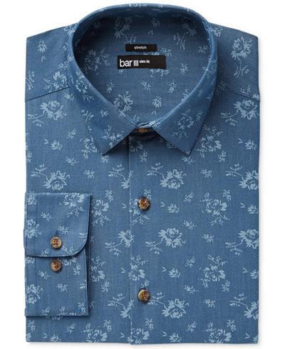 Bar III Men's Slim-Fit Stretch Easy Care Denim Wild Flower Print Dress Shirt, Created for Macy's