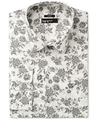 Bar III Men's Slim-Fit Stretch Mistic Grey Rose Print Dress Shirt, Created for Macy's