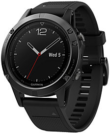 Garmin Men's fenix® 5 Multisport Black Silicone Band Smart Watch 47mm