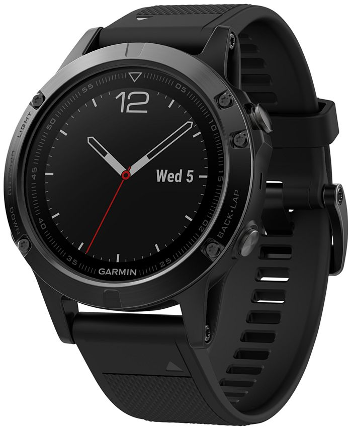 Garmin - Men's fenix® 5 Multisport Black Silicone Band Smart Watch 47mm