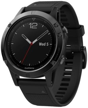 Garmin Men's fenix 5 Multisport Black Silicone Band Smart Watch 47mm