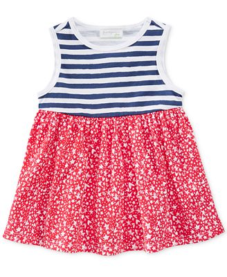 First Impressions Star-Print & Striped Cotton Babydoll Tunic, Baby Girls (0-24 months), Only at Macy's