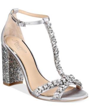 Jewel Badgley Mischka Carver Block-Heel Evening Sandals Women