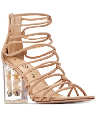 Katy Perry Janelle Seashell Lucite Block Heel Sandals