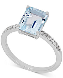 Aquamarine (2-1/10 ct. t.w.) and Diamond (1/10 ct. t.w.) Ring in 14k White Gold