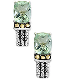 EFFY® Green Amethyst Two-Tone Woven-Look Drop Earrings (6-1/10 ct. t.w.) in Sterling Silver and 18k Gold