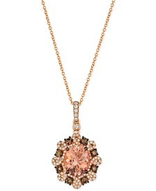 Peach Morganite™ (2-3/8 ct. t.w.) and Diamond (3/4 ct. t.w.) Pendant Necklace in 14k Rose Gold