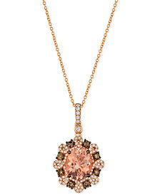 Le Vian® Peach Morganite™ (2-3/8 ct. t.w.) and Diamond (3/4 ct. t.w.) Pendant Necklace in 14k Rose Gold