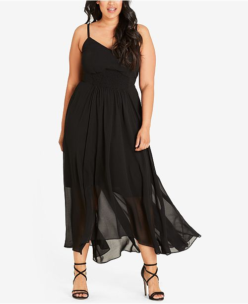 City Chic Maxi Black Shirred Trendy Size Plus Dress agwqUax