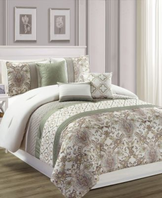 Encino 7Pc California King Comforter Set Bed in a Bag Bed